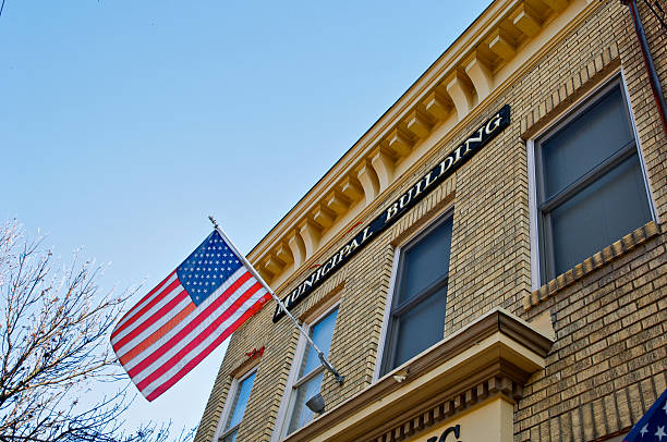 Municipal Building and American flag stock photo