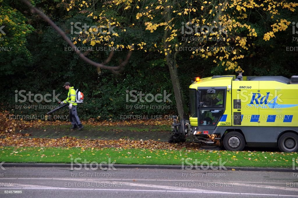 Municipal cleansing at work stock photo