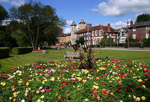 Municipal gardens Flower gardens brighten up the approach to High Wycombe, Buckinghamshire buckinghamshire stock pictures, royalty-free photos & images