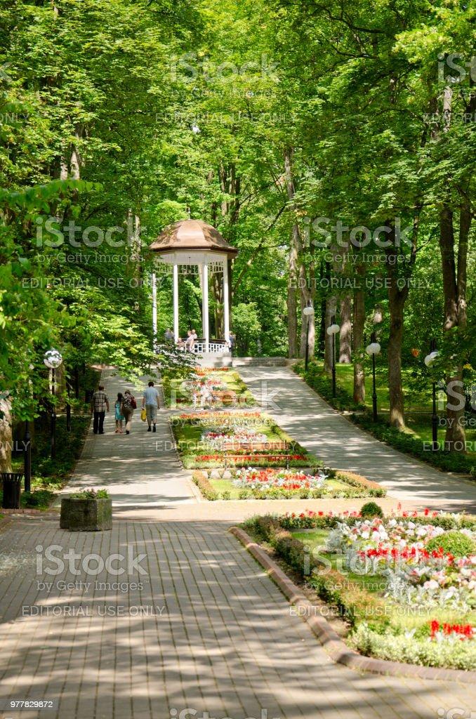 Municipal park promenade. Polanica Zdroj, Poland. stock photo