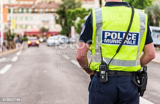 Cannes, France - May 24, 2014: Police Municipale is controlling the traffic in Cannes, France.