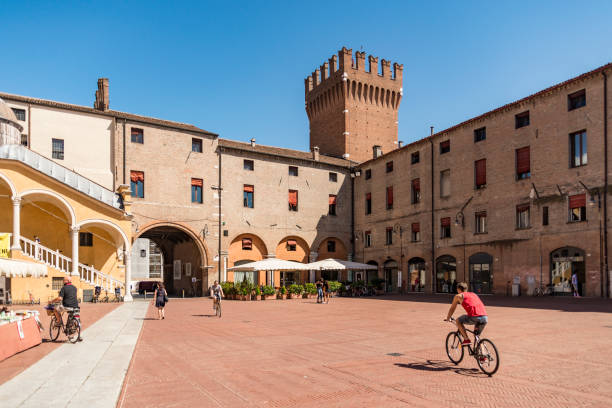 Municipal square, one of the most important square in Ferrara, Italy stock photo