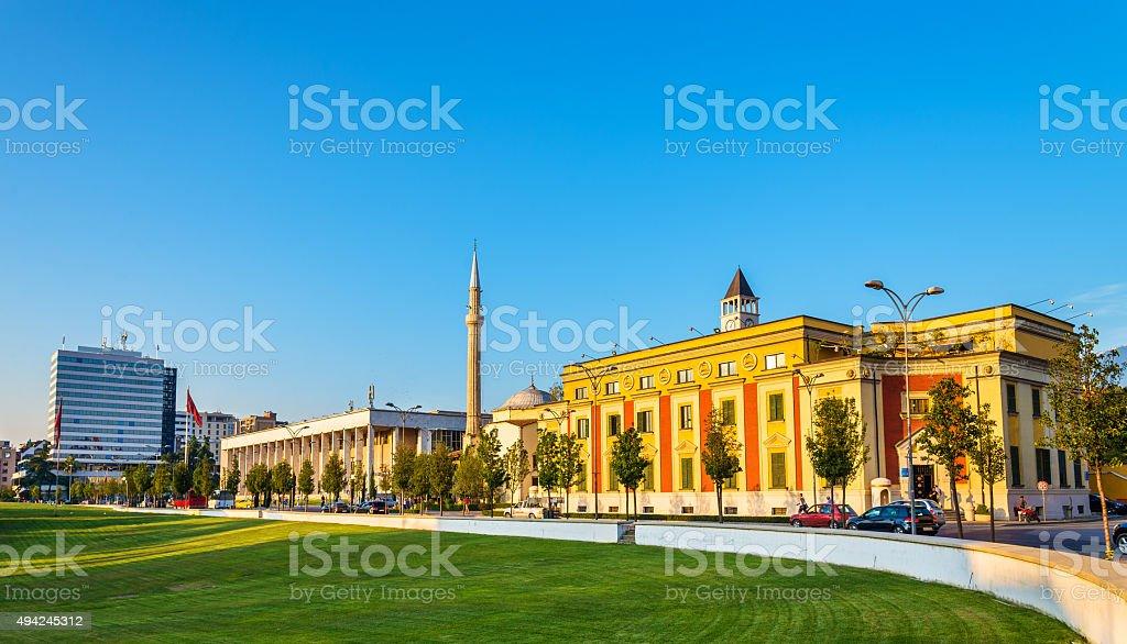 Municipality of Tirana and Palace of Culture - Albania stock photo