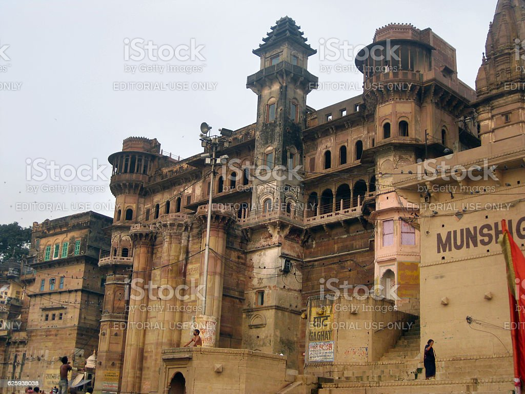 Munshi Ghat in Varanasi stock photo