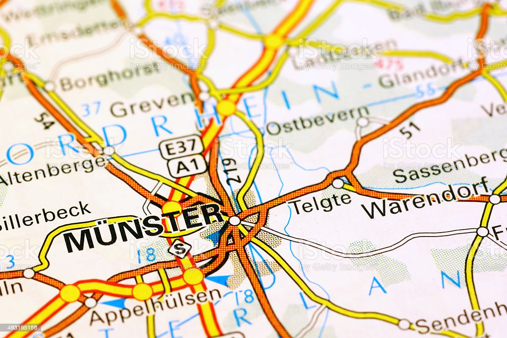 Munster area on a map stock photo
