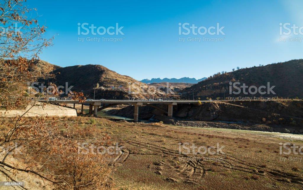 Munzur river and bridge royalty-free stock photo