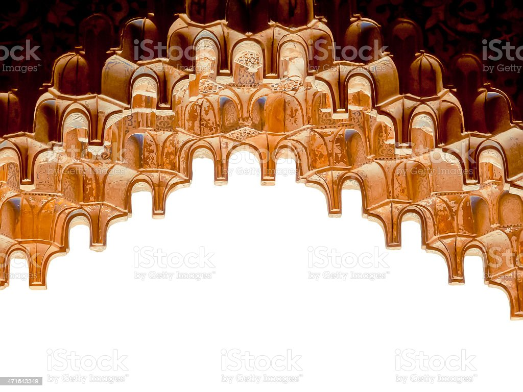 Muqarnas. Arabic architecture details - isolated stock photo
