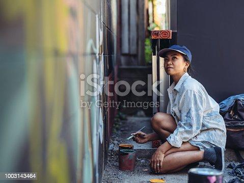 istock Mural artist at work 1003143464