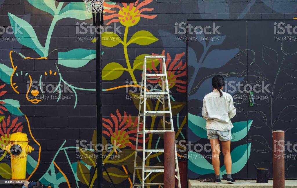Wandbild Künstler bei der Arbeit - Lizenzfrei 25-29 Jahre Stock-Foto