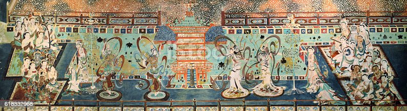 Mural buddhism patterns abstract backgrounds, Mogao caves. The Northern Wei Dynasty (AD 386 onwards), China.