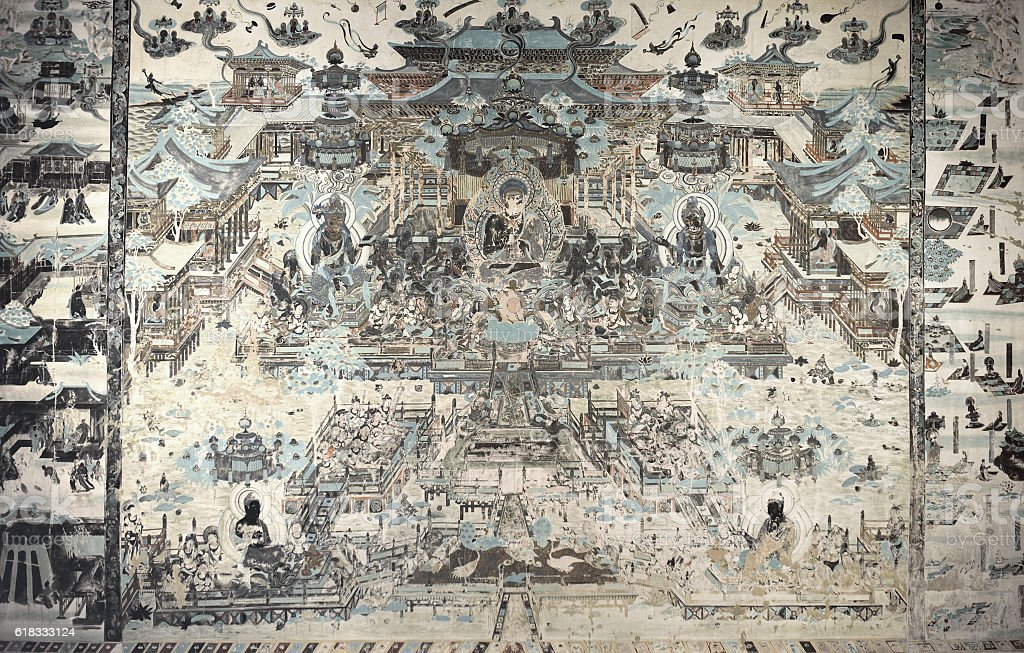 Mural Buddhism Patterns stock photo