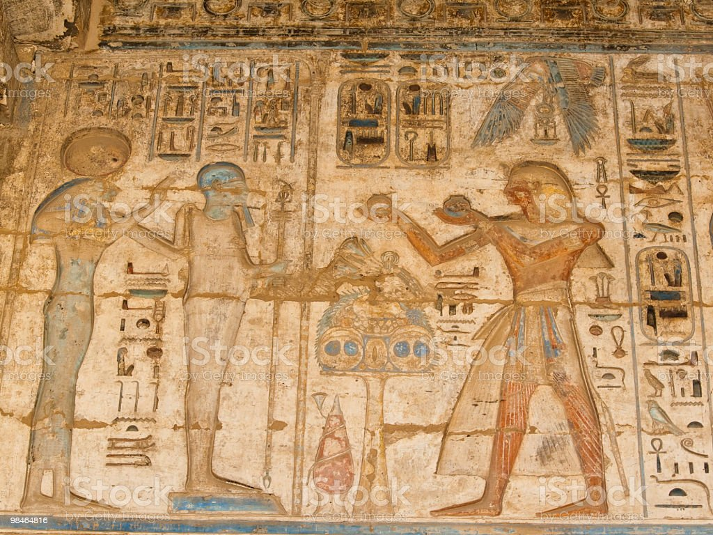 mural in Medinat Habu Temple royalty-free stock photo