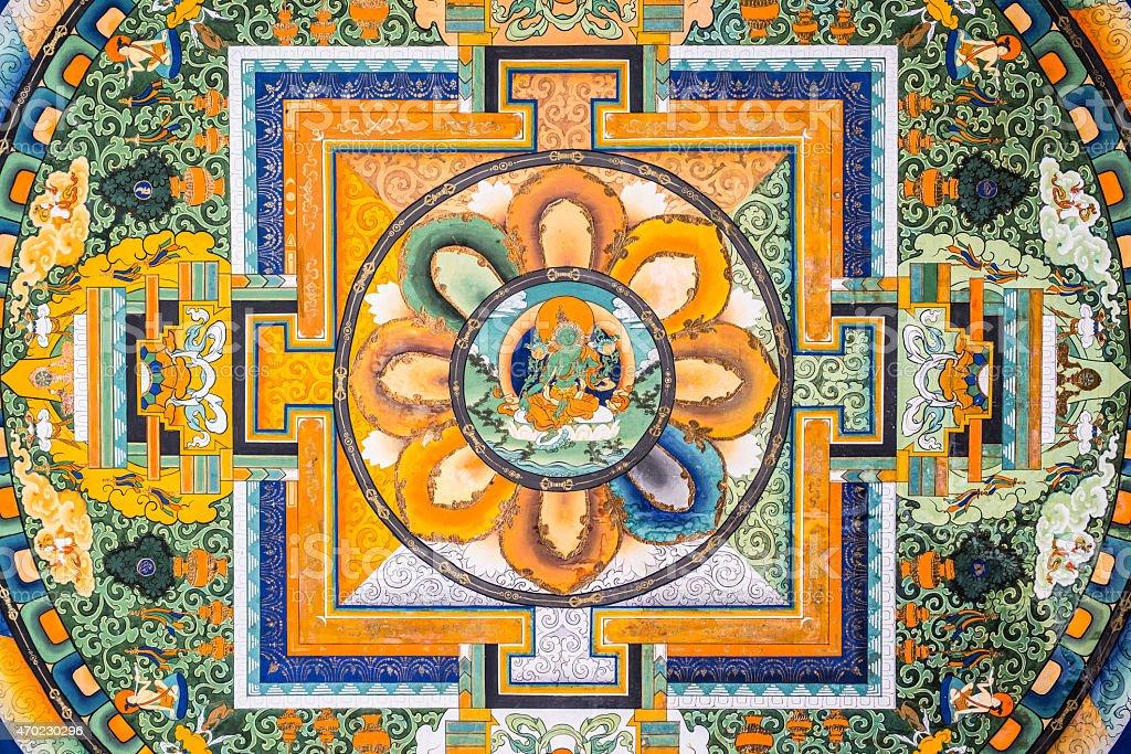 Mural In Sera Monastery stock photo