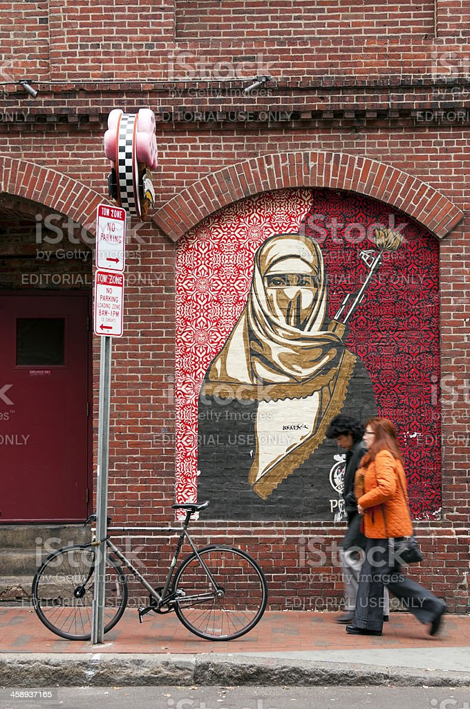 Mural installed by Shepard Fairey, Harvard Square, Boston, USA stock photo