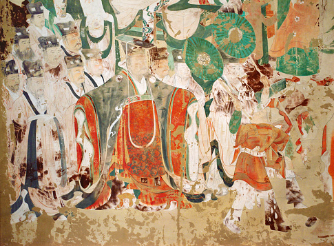Mural mythology patterns abstract backgrounds, Mogao caves. The Northern Wei Dynasty (AD 386 onwards), China.