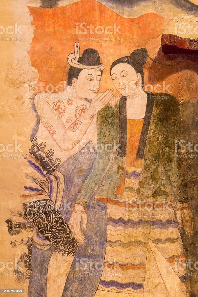 Mural of phumin temple ,Nan ,Thailand stock photo