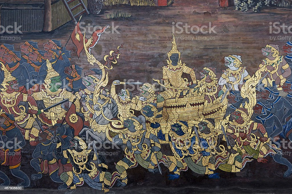 Mural of Ramayana in Wat Pra Kaew, Bangkok, Thailand stock photo