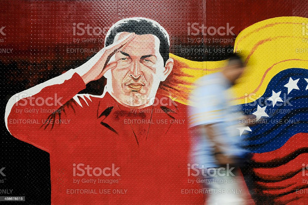 Mural of Venezuelan President Hugo Chavaz stock photo