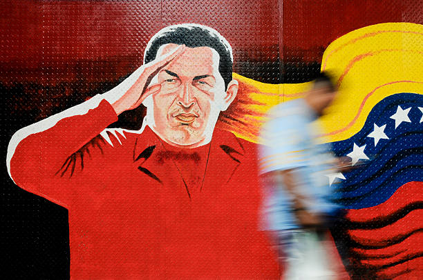 Mural of Venezuelan President Hugo Chavaz stock photo