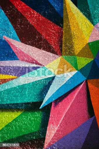 Mural Paint in Madrid, Spain, the wall is full of edges and colors