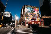 A mural painted by Brazilian street artist Eduardo Kobra is seen on November 04, 2018 in New York City show Mahatma Gandhi and Madre Teresa de Calcutá.