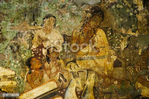 Mural painting in ajanta cave jataka tales stock photo for Ajanta mural painting