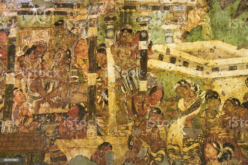 Mural Painting In Ajanta Cave Stock Photo Download Image