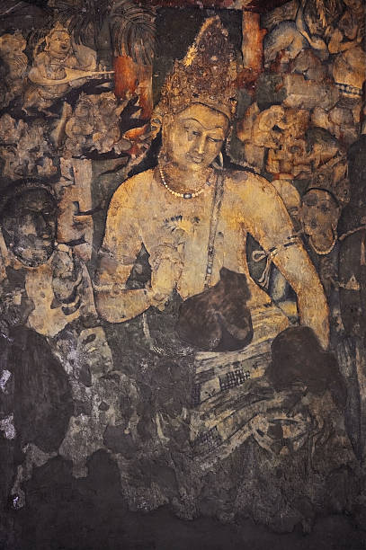 Mural Painting of Padmapani in Ajanta (Cave 1) Bodhisattva Padmapani Painting inside the Ajanta caves , India bodhisattva stock pictures, royalty-free photos & images