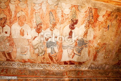 Mural painting on ceiling , Veerbhadra temple.  Patrons and architects of  temple worship Siva and Parvati. Lepakshi Temple, India