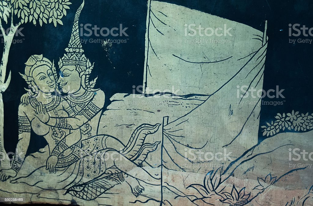 mural picture wat poe tample stock photo