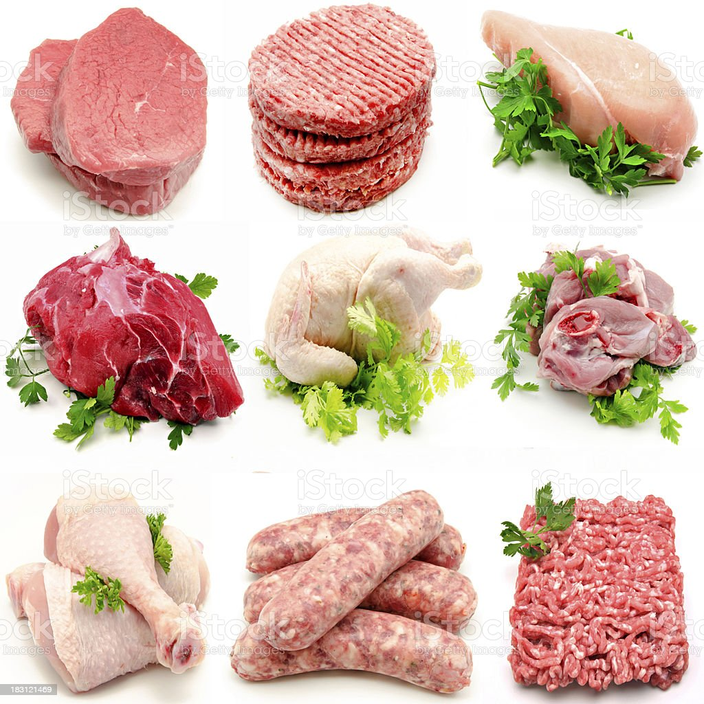 Mural various meats stock photo