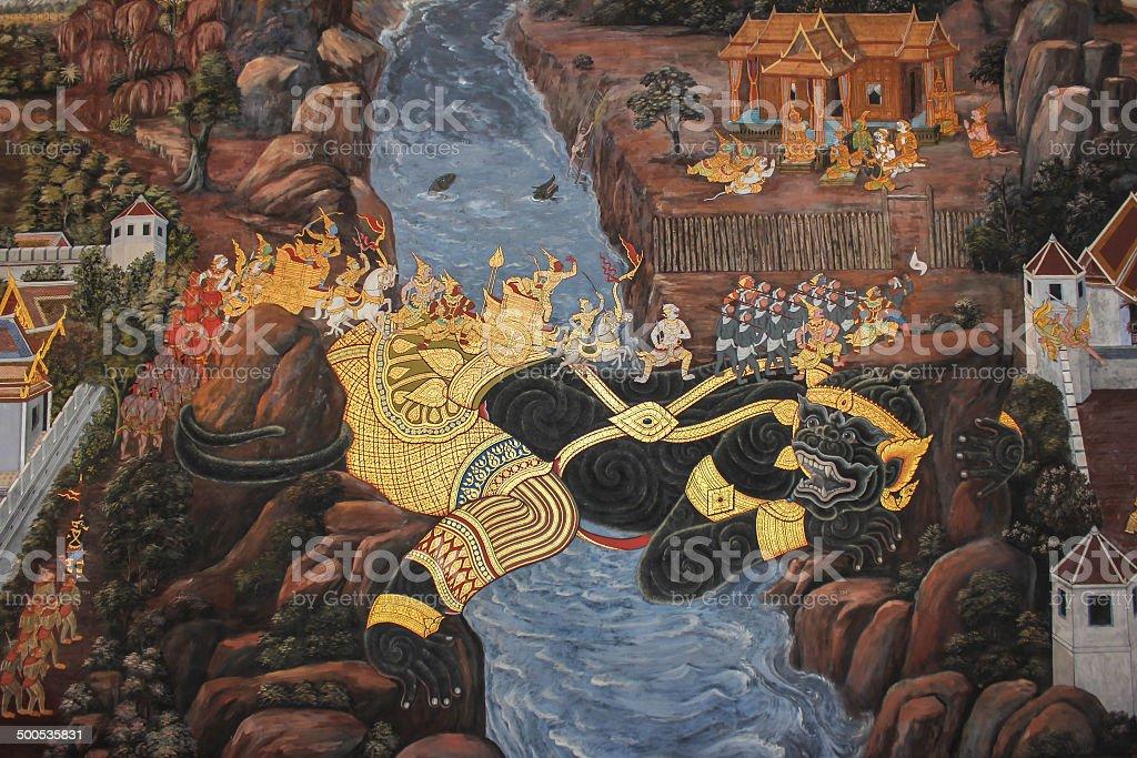Murals at Wat Phra Kaew. stock photo