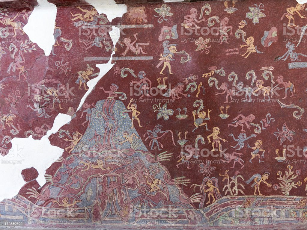 Murals in Teotihuacan stock photo