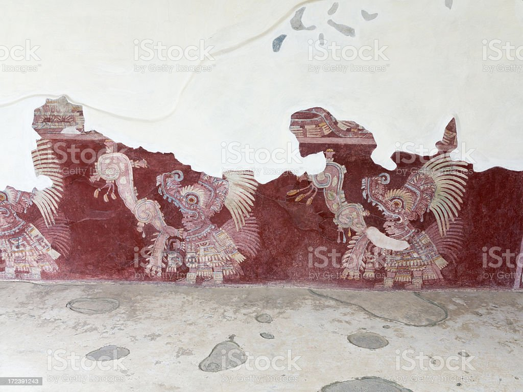 Murals in Teotihuacan royalty-free stock photo