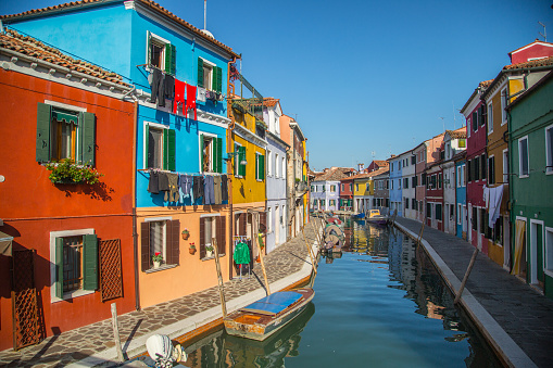 Murano colorful building where produce glass product famous in Venice Italy.