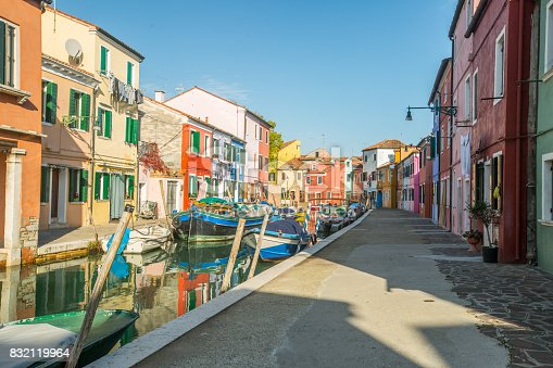 istock Murano colorful building where produce glass product famous in Venice Italy. 832119964