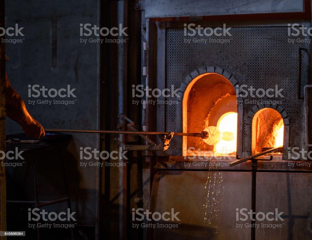 Murano Glass Blowers stock photo