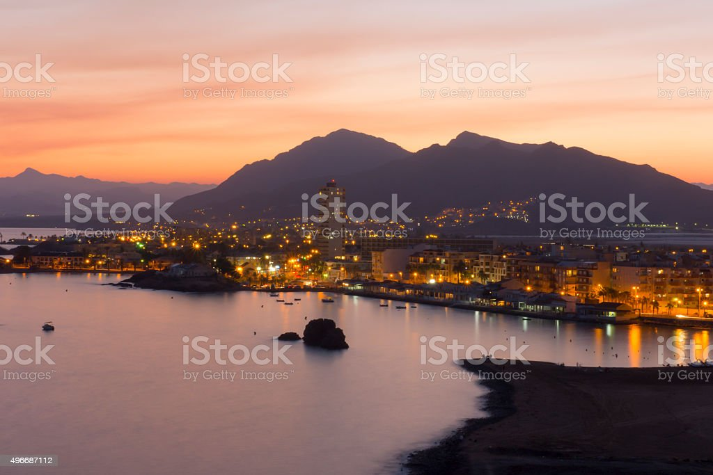 Playa de Murcia por la noche stock photo