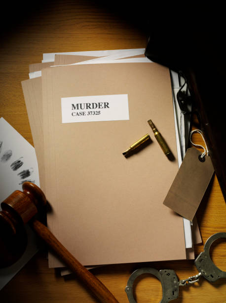 murder case file framed with evidence - murder mystery stock photos and pictures