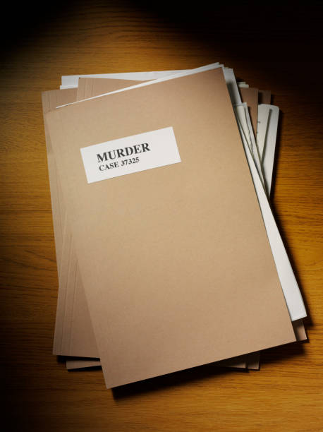 murder case file on the desk - murder mystery stock photos and pictures