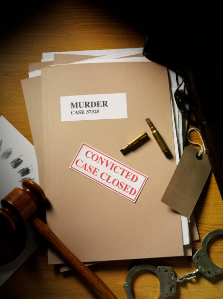 murder conviction on a paper file with evidence - murder mystery stock photos and pictures