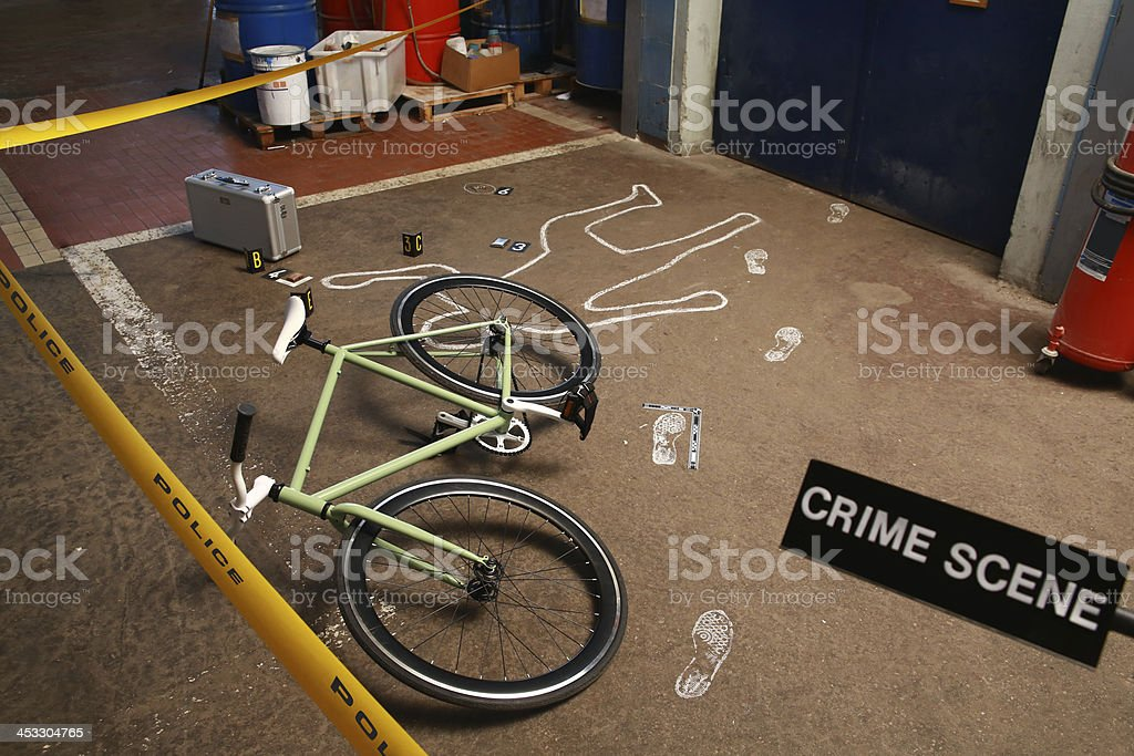 Murder Crime Scene In Factory stock photo