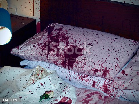 Staged murder crime scene scene with blood splats and streaks across the walls and surfaces with dripping blood. Fake theatrical blood used.