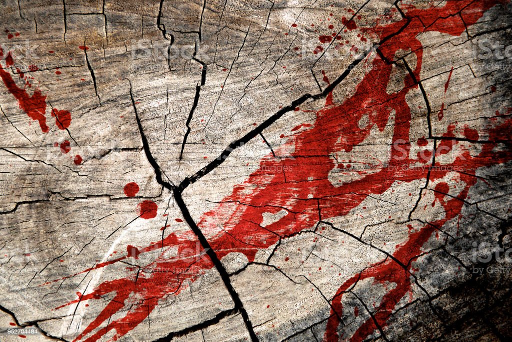 Murder in the forest. Blood splatter on tree stump wood background. Horror movie and killing scene. Conceptual of woodcutter. Top view. Close up. stock photo
