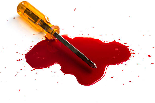 Murder. Red blood on white background stock photo