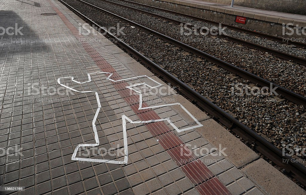 murder scene on the train tracks in colour stock photo