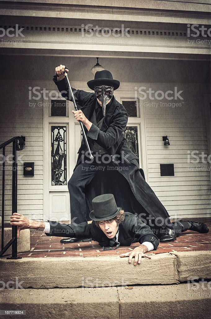 Murder with a cane scene - II royalty-free stock photo