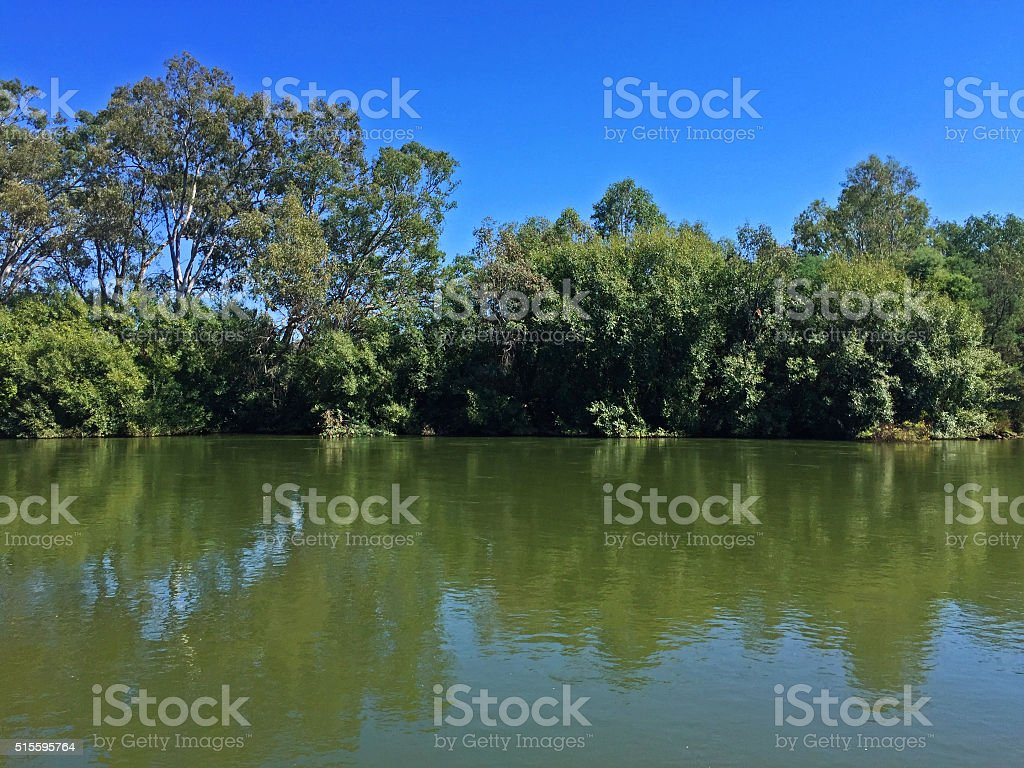Murray River at Noreuil Park, Albury, NSW, Australia stock photo