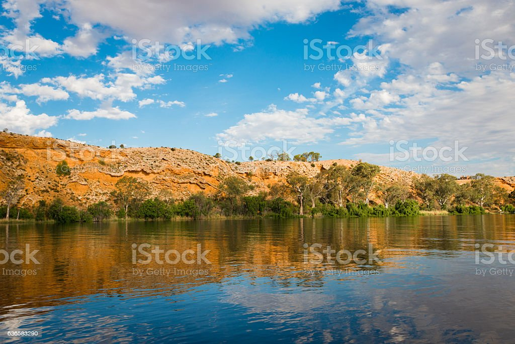 Murray River cliffs scenic waterfront view at Walker Flat stock photo