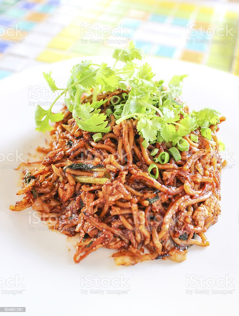 Murray style fried noodles stock photo